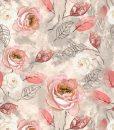 Plonas, skaitmeninės spaudos trikotažas Pastelinės gėlės